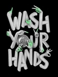 graphic phrase of wash your hands